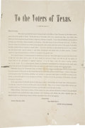 """Miscellaneous:Ephemera, Broadside: """"To the Voters of Texas"""" signed in type by State Treasurer Cyrus H. Randolph. One page, 10.5"""" x 1..."""