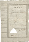 "Miscellaneous:Ephemera, [Republic of Texas] Consolidated Fund of Texas $5000 BondCertificate. Houston: Intelligencer Office, 1839. One page, 11"" x..."