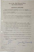 Autographs:Others, 1952 Jose Fernandez Signed Player's Contract & MailingEnvelope....