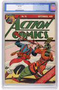 Golden Age (1938-1955):Superhero, Action Comics #16 (DC, 1939) CGC VF 8.0 Off-white pages....