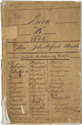 """Miscellaneous:Ephemera, Ledger of Non Identified Lands in Texas in 1852. 140 pages,approximately 8.25"""" x 12.75"""", n.p., October 6, 1857. Being""""Bo..."""