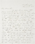 "Autographs:Statesmen, Thomas Jefferson Rusk Autograph Letter Signed as U.S. senator fromTexas. One page, two sided, 7.75"" x 10"", ""Washington, M..."