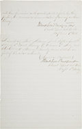 "Autographs:Military Figures, John B. Magruder Document Signed Twice at Brevet Lt. Colonel. Twopages, two sided, including integral blank, 8"" x 12.25"", F..."