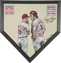 Autographs:Others, Johnny Bench Signed Home Plate Painting. ...