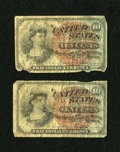 Fractional Currency:Group Lots, Fr. 1259 10c Fourth Issue Very Good. Two Examples.. ... (Total: 2 notes)