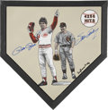 Autographs:Others, Pete Rose And Steve Garvey Signed Home Plate Painting....