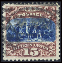 #129, 1875 Re-Issue, 15c Brown And Blue, XF 90 PSE. (Used)