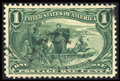 Stamps, #285, 1898, 1c Dark Yellow Green, XF-S 95 PSE. (Used)....