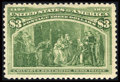 Stamps, #243, 1893, $3 Yellow Green, VF 80 PSE. (Original Gum - Never Hinged)....
