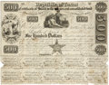 """Miscellaneous:Ephemera, Republic of Texas $500 Stock Certificate issued to Edward Hall. One page, 10"""" x 7.5"""", October 15, 1840, Austin, with ten cou..."""