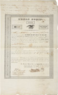 """Miscellaneous:Ephemera, [Texas Republic] Thomas Toby Texas Scrip Signed. Three partiallyprinted pages, 10.5"""" x 17"""", August 8, 1836, New Orleans..."""