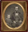 Photography:Daguerreotypes, Sixth Plate Daguerreotype of a San Francisco Gold Rush Sheriff andDaughter, circa 1850s....