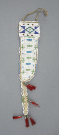 American Indian Art:Beadwork and Quillwork, A SIOUX BEADED HIDE KNIFE SHEATH. c. 1915. ...