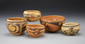 American Indian Art:Pottery, FIVE HOPI BOWLS. c. 1945... (Total: 5 Items)