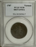 Colonials: , 1787 COPPER Vermont Copper, BRITANNIA VF30 PCGS. PCGS Population(16/33). NGC Census: (0/0). (#554)...