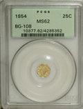 California Fractional Gold: , 1854 25C Liberty Octagonal 25 Cents, BG-108, Low R.4, MS62 PCGS.PCGS Population (40/46). NGC Census: (6/20). (#10377)...