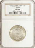 German States:Lubeck, German States: Lubeck. 2 Mark 1912A, KM212, MS65 NGC, fullybrilliant with soft harvest gold toning, very scarce grade for thistype....