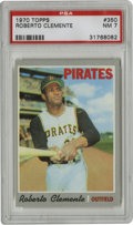 Baseball Cards:Singles (1970-Now), 1970 Topps Roberto Clemente #350 PSA NM 7. Prime exemplar from the oft-chipped grey border 1970 Topps issue, this one featu...