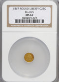 California Fractional Gold: , 1867 25C Liberty Round 25 Cents, BG-825, R.4, MS62 NGC. NGC Census:(6/1). PCGS Population (31/15). (#10686)...