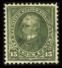#284, 1898, 15c Olive Green, XF-S 95 PSE. (Used)