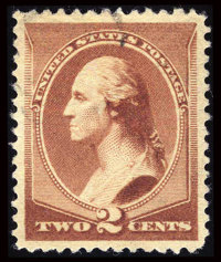 #210, 1883, 2c Red Brown, SUP 98 PSE. (Used)