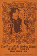 "Music Memorabilia:Posters, The Incredible String Band Fillmore West Concert Poster 13.75"" x21"" (Bill Graham, 1969)...."