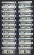Small Size:World War II Emergency Notes, Fr. 2300 $1 1935A Hawaii Silver Certificates. Twenty-two Examples.PMG Graded. . ... (Total: 22 notes)
