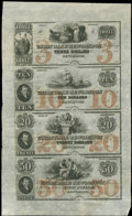 New London, CT- The Union Bank in New-London $3-$10-$20-$50 G176a-G216a-G230a-G236a Uncut Sheet