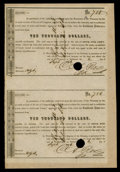 Confederate Notes:Group Lots, Ball 349a $10,000 Call Certificates. Uncut Sheet of Two.. ...