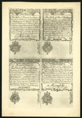 Colonial Notes:New Hampshire, New Hampshire April 1, 1737 3s-2s-5s-10s Uncut Sheet of CohenReprints Choice New....
