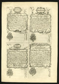 Colonial Notes:New Hampshire, New Hampshire April 1, 1737 Redated August 7, 1740 £5-£2-£3-£1Uncut Sheet of Cohen Reprints Choice New....