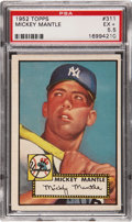 Baseball Cards:Singles (1950-1959), 1952 Topps Mickey Mantle #311 PSA EX+ 5.5....