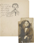 Movie/TV Memorabilia:Autographs and Signed Items, Charlie Chaplin Signed Sketch with Photo (1913).... (Total: 2 Items)