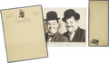 Movie/TV Memorabilia:Autographs and Signed Items, Laurel and Hardy Signed Photo.... (Total: 3 Items)