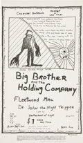 "Music Memorabilia:Posters, Big Brother/Fleetwood Mac Carousel Ballroom Poster (1968). 13"" x22.5""...."