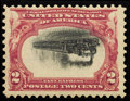 Stamps, #295a, 1901, 2c Carmine and Black, Inverted Center, F 70 PSE. (Original Gum - Previously Hinged).... (Total: 1 Slab)
