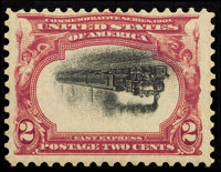 #295a, 1901, 2c Carmine and Black, Inverted Center, F 70 PSE. (Original Gum - Previously Hinged)