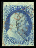 Stamps, #5A, 1851, 1c Blue. (Used)....