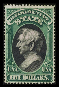 #O69, 1873, $5 Green And Black F 70 PSE. (Partial Original Gum)