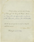 Autographs:U.S. Presidents, [Republic of Texas] Martin Van Buren Document Signed...
