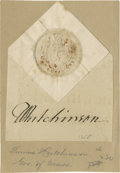 "Autographs:Statesmen, Thomas Hutchinson Seal and Signature, ""T. Hutchinson"". Onepage, excised from a larger document and mounted on paper, 3...."