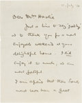 "Autographs:Celebrities, Robert Baden-Powell Autograph Letter Signed. Two pages, 4.25"" x 5.5"", July 11, 1910, n.p., to ""Mrs. Hastie"", with refere..."