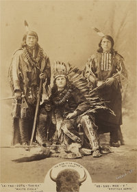A GROUP PORTRAIT OF WHITE EAGLE, BOY CHIEF, AND SPOTTED HORSE c. 1885