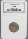 Proof Buffalo Nickels: , 1936 5C Type Two--Brilliant Finish PR65 NGC. NGC Census: (114/281).PCGS Population (258/392). Mintage: 4,420. Numismedia W...