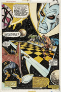 Original Comic Art:Splash Pages, Jim Starlin and Dan Adkins Giant-Size Defenders #3Hand-Colored Splash page 6 Original Art (Marvel, 1975)....