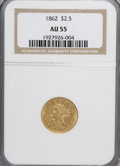 Liberty Quarter Eagles: , 1862 $2 1/2 AU55 NGC. NGC Census: (14/107). PCGS Population(10/33). Mintage: 98,543. Numismedia Wsl. Price for NGC/PCGS co...