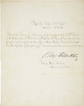 "Autographs:Military Figures, Benjamin Butler Letter Signed, ""Benj. F. Butler"". One page with docketing on the verso, 7.75"" x 9.5"", October 31, 18..."
