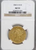 Liberty Eagles: , 1843-O $10 AU53 NGC. NGC Census: (59/121). PCGS Population (15/22).Mintage: 175,162. Numismedia Wsl. Price for NGC/PCGS co...