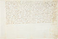 "Autographs:Non-American, Walter Scott Document Twice Signed. One page with docketing on theverso, 12.25"" x 8.25"", January 6, 1821, Edinburgh. The do..."