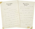 "Autographs:Authors, H. G. Wells Autograph Letter Signed. Three pages, 4.5"" x 7"", n.d.,Dunmow [Essex, United Kingdom], on Easton Glebe stationer...(Total: 2 Items)"